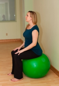 Pelvic tilt on ball prenatal yoga convex