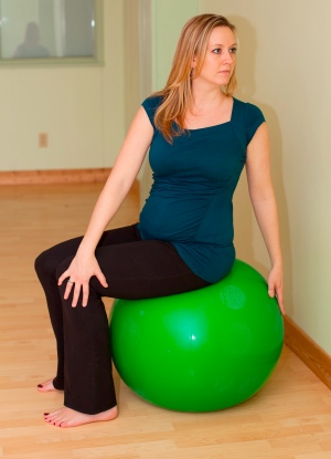 Safe Twist Pregnancy Yoga on Ball